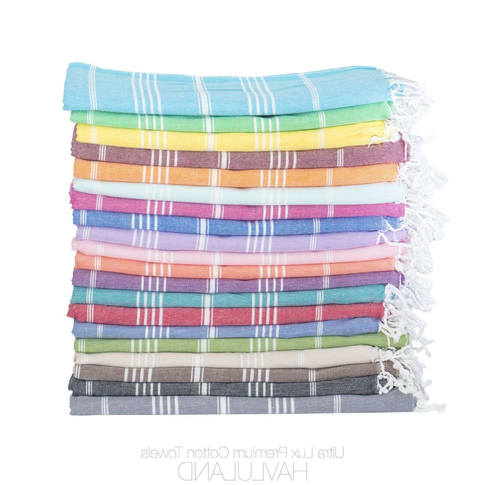Havluland Turkish Beach Towel  - Prewashed for Soft Feel, 10