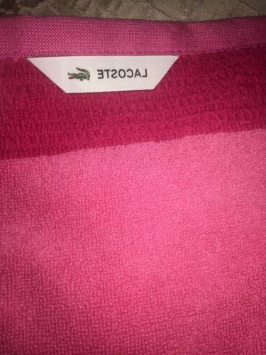 """Lacoste Match Cotton Bath Towel Magenta 30"""" x 52"""" LARGE CROC"""