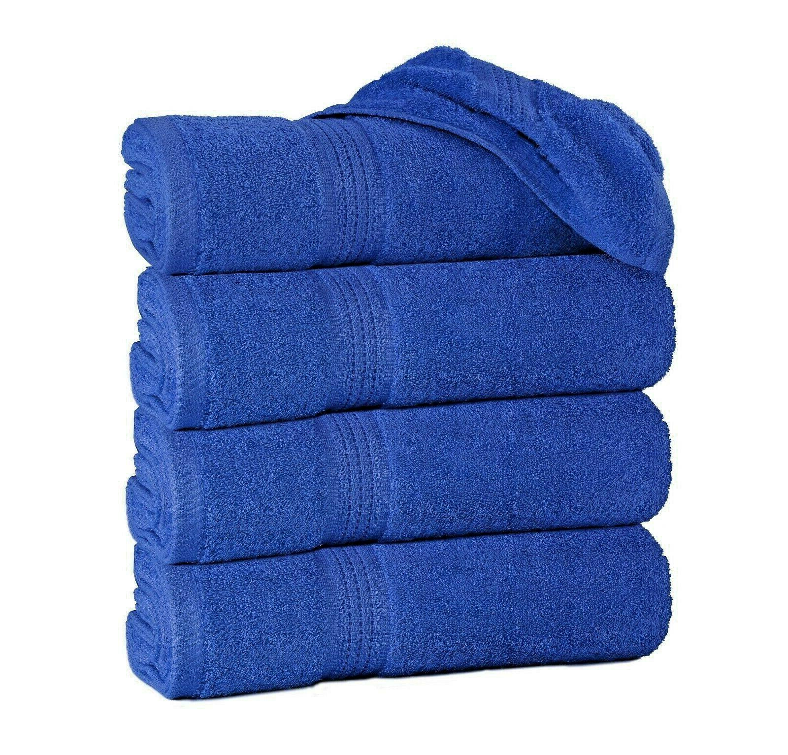 """Large Bath Towels Pack of 4 100% Cotton 27""""x55"""" Highly Absor"""