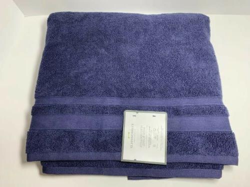 performance bath towel 30x54in dark navy blue