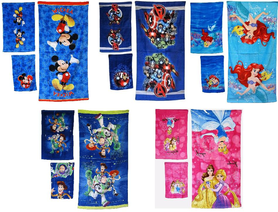 DISNEY PIXAR MARVEL KIDS BATHROOM BATH TOWEL 3PC SET CARTOON