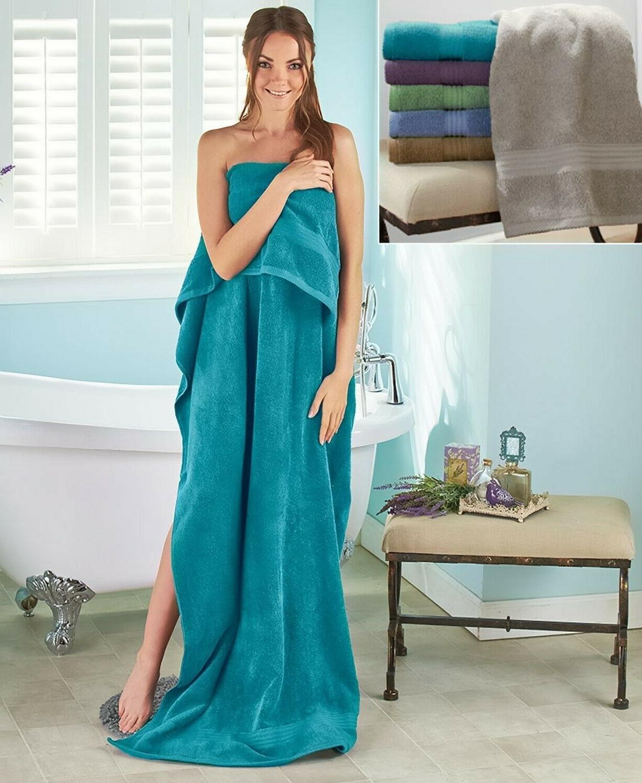 "34"" Zero-Twist Cotton Bath Sheet Towel Blue"
