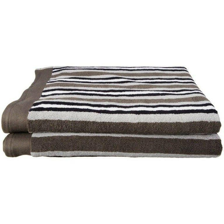 set of 2 charcoal striped egyptian cotton