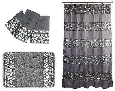 Popular Bath Sinatra Silver Shower Curtain, Rug and 3 Piece
