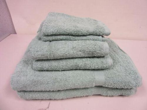 Six Terry Towels Light Jade Green 100% Cotton Two Bath, Two