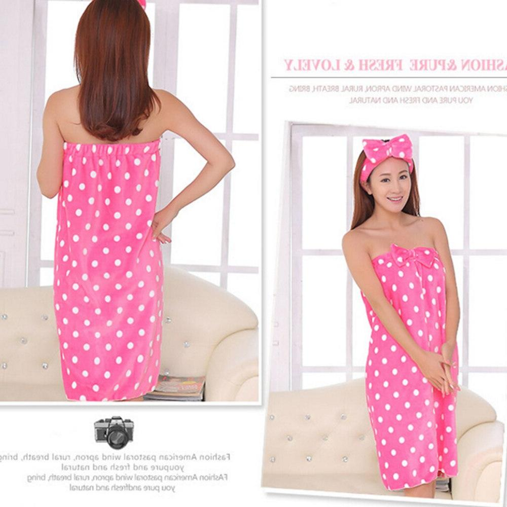 Super Absorbent Cute Nightgown Skirt <font><b>Bath</b></font> <font><b>Towel</b></font> Headband