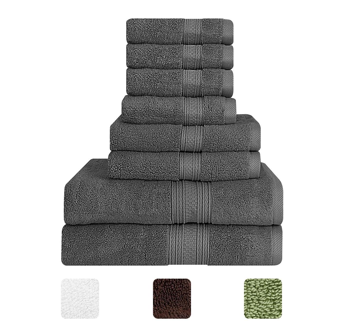 Towel Set Cotton 8 Piece 2 Bath Towel 2 Hand Towel 4 Washclo