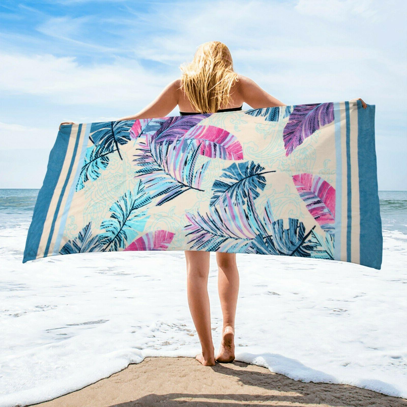 Palm Leaves Beach Towel, Turquoise 30x60 Soft 100% Cotton Ba