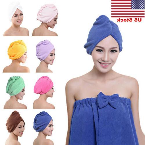 US New Quick Dry Twist Hair Turban Towel Microfiber Hair Wra