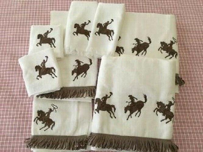 western cowboy and horse fringe bath towels