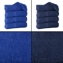 "Large Blue Bath Towels Pack Set 100% Cotton 27""x60"" 450 GSM"