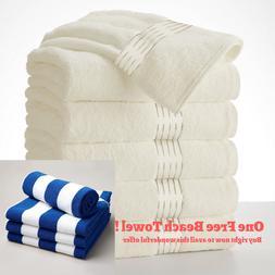 Large Cream Bath Towels + FREE GIVEAWAY Pack Set 100% Cotton
