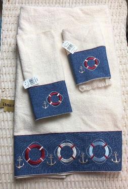 Avanti Linens Life Preserver / Anchor Bath Towel Set NWT