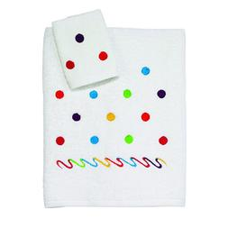 Avanti Linens Kids Scattered Dots 2 Piece Towel Set, White
