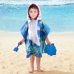 Little Shark 100% Cotton Hooded Towel for 2-6 Years Girls Ba