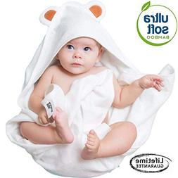 Premium Ultra Soft Organic Bamboo Baby Hooded Bath Towel wit