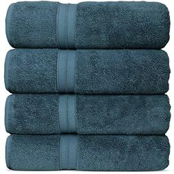 Luxury Premium Turkish Cotton 4-Piece Bath Towels, Long-Stab
