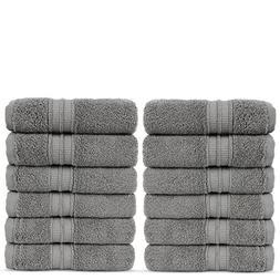 Luxury Premium Turkish Cotton 12-Piece Washcloths, Long-Stab