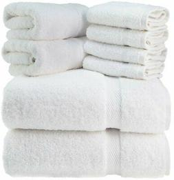 Luxury White Bath Towel Set - Hotel Soft Cotton 2/Bath 2/Han