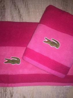 Lacoste Match Cotton Colorblocked Bath Towel Pink  Magenta 3