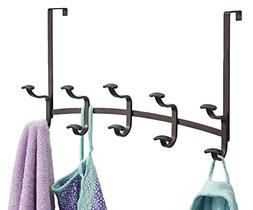 mDesign Decorative Metal Over Door 10 Hook Storage Organizer