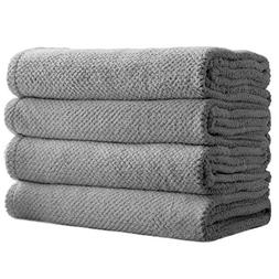 SOFTOWN Microfiber Checkered Bathroom Towels Ultra Absorbent