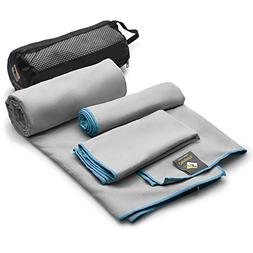 Set of 3 Microfiber Towels Fast Drying Gray Travel Backpacki