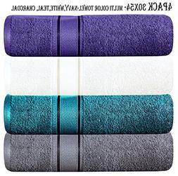 Linen Clubs 4Pack Multi Bath Towel- 580 GSM Quality, size 30