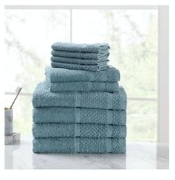 New 10 Piece Towel Set 100% Cotton Bath Towels Wash Cloths H