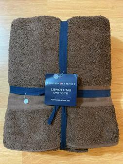 New Tommy Hilfiger 100% Ringspun Cotton Bath Towels Brown St