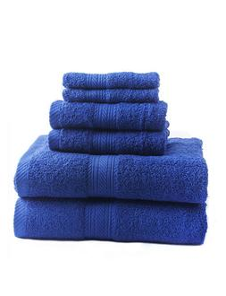 New Cobalt 6 Piece Bath Towel Set Hand Towels Washcloths 100