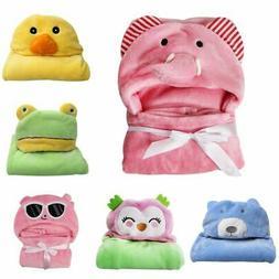 Newborn Baby Soft Flannel Hooded Blanket Bath Towel Kids Inf