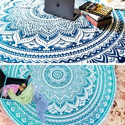 Set of 2 Ombre Mandala Round Hippie Tapestry Indian Bohemian