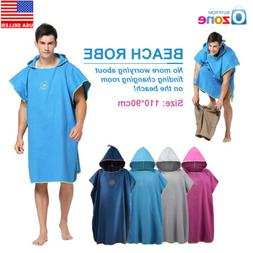 One Size Beach Bath Microfiber Surf Poncho Robe With Hood We