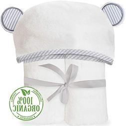 Organic Bamboo Hooded Baby Towel - Soft, Hooded Bath Towels