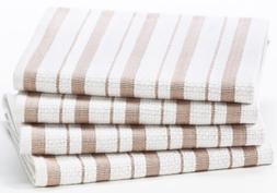 Cotton Craft - 4 Pack - Basket Weave Kitchen Towels - Linen