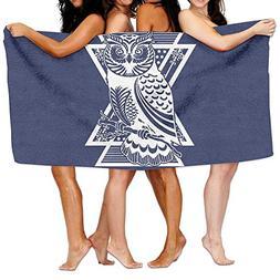 KAYERDELLE Unisex Beautiful Owl Beach Towels Washcloths Bath