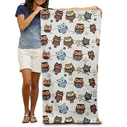 Uikea Owl Microfiber Bath Towel / Beach Towel For Adults