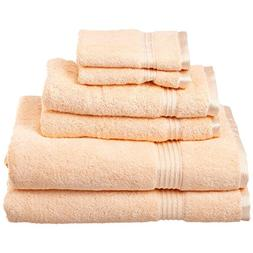 6 Piece Peach Solid Color Towel Set With 30 X 50 Inches Bath