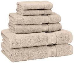 Pinzon Low Twist Pima Cotton 650-Gram 6-Piece Towel Set, Kha