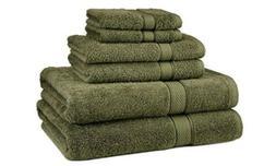 Pinzon Egyptian Cotton 6 Piece Family Towel Set Green Moss D