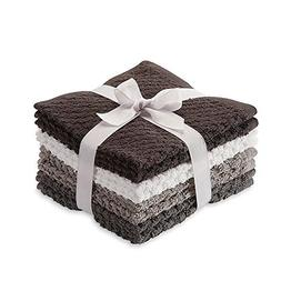 8 Pack Popcorn Texture Terry Wash Cloths Rags Charcoal Dark