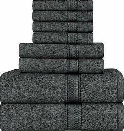 Premium 8 Piece Towel Set - Grey - 2 Bath, 2 Hand Towels and