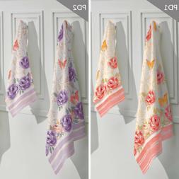 Printed Bathroom Towel Set with floral pattern. 2 Bath Towel