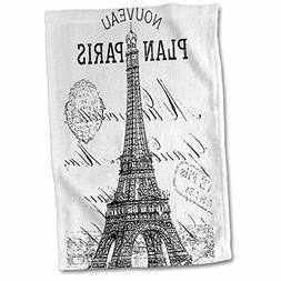 3D Rose Nouveau Paris Vintage Eiffel Tower Hand/Sports Towel