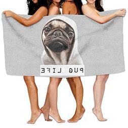 Unisex Pug Life Dogs Beach Towels Washcloths Bath Towels For