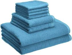 AmazonBasics Quick-Dry Towels - 100% Cotton, 8-Piece Set, La