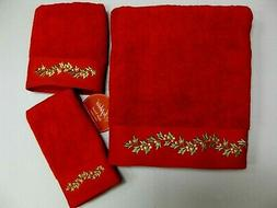 SOPHIA Red Bath Towels Hand Fingertip Embroidered Cotton 3 P