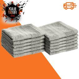 Resistant Cotton Washcloths Pack of 12 Grey Kitchen Bathroom