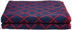 Reversible 2-pc Navy & Red Diamond Pattern Bath Towels 550GS